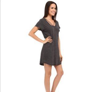 Grey V Neck T-shirt Dress